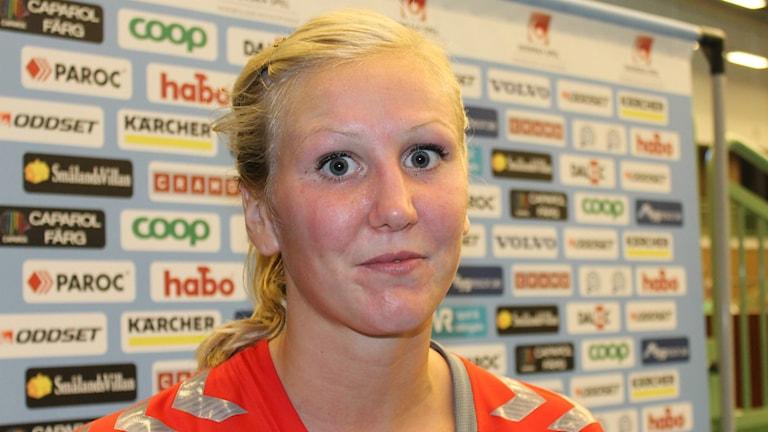 Maja Eriksson i Skövde HF som gjorde tretton mål.Foto Tommy Järlström Sveriges/Radio.