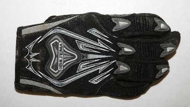 Lisa Holms handske som hittades i ladan. Foto:Polisen
