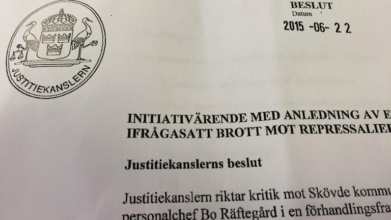 Beslutet från Justitiekanslern.