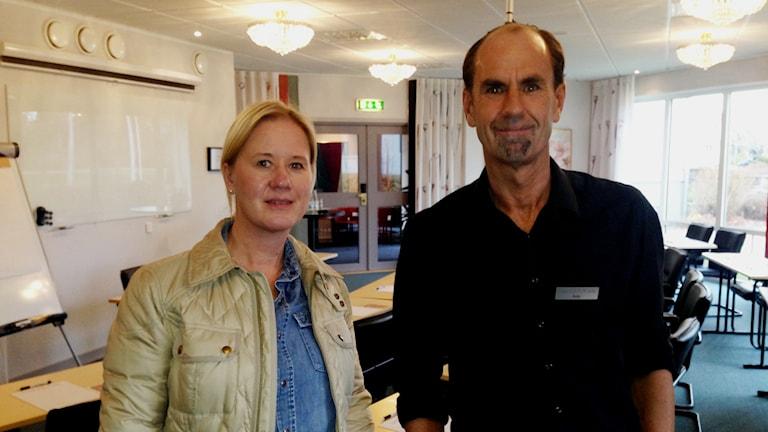 Viktoria Johansson och Pelle Stohlander vill inte ha kommunen som en konkurrent. Foto: Linnéa Frimodig/ Sveriges Radio