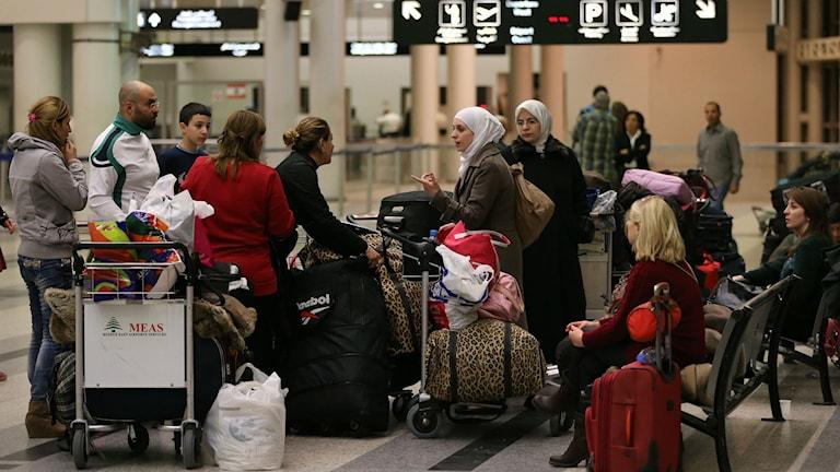 Flera människor står i en hall på en flygplats. Mycket bagage. Foto: Hussein Malla/TT