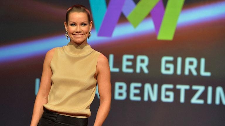 Linda Bengtzing från Gullspång sjunger Killer Girl. Foto: Jonas Ekströmer/TT