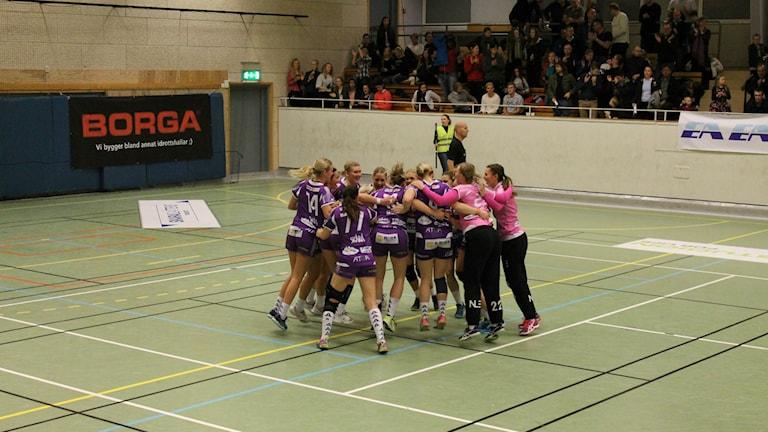 Skara HF jublar efter seger. Foto: Andreas Johnsson/Sveriges Radio.