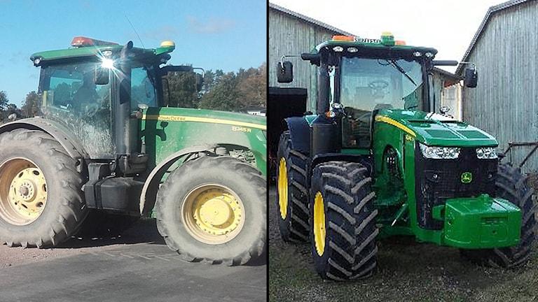 Traktorerna som stals på fredagmorgonen. Foto: Larmtjänst