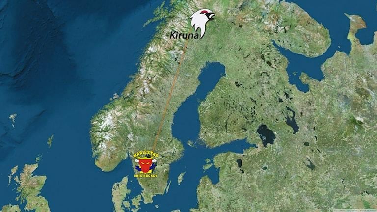 Avståndet mellan Mariestad och Kiruna.