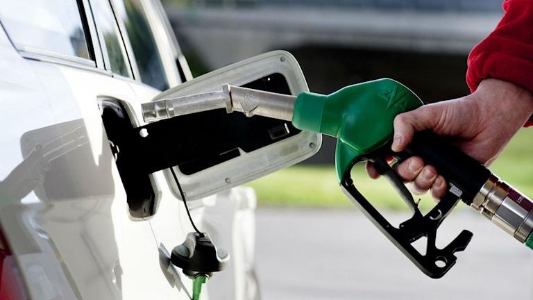 En bil tankas med bensin på en bensinstation Foto: Pontus Lundahl/TT
