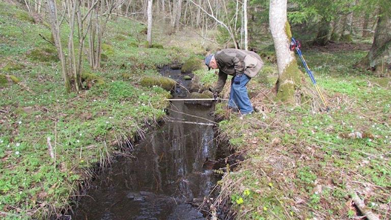 Alv Svensson har själv varit ute och mätt djup i bäckar och beräknat påverkan av brytningarna . Foto: Privat