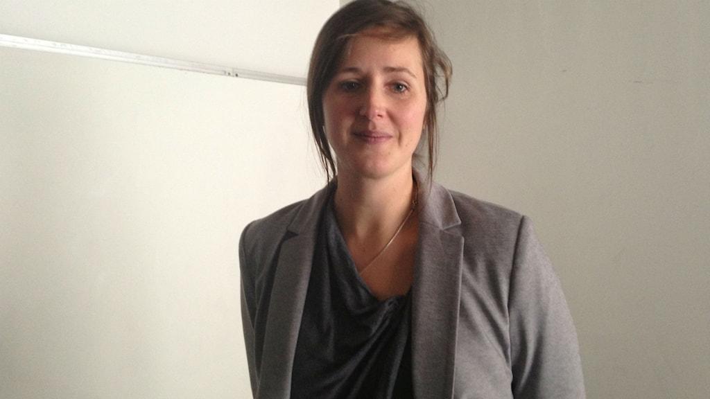 Marie Sjöstrand, miljö- och kvalitetschef på Cementa i Skövde. Foto: Jenny Josefsson P4 Skaraborg Sveriges Radio