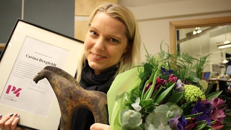Carina Bergfeldt blev stolt och glad över utmärkelsen. Bild: Malin G Pettersson/Sveriges Radio