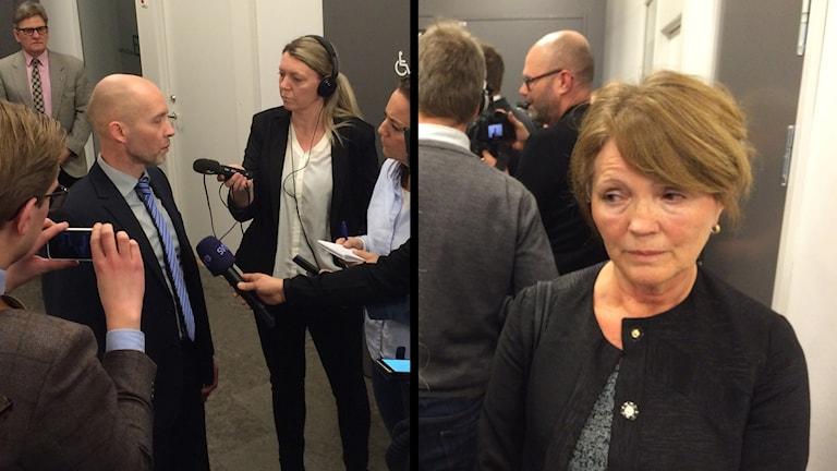 Vice chefsåklagare Lars-Göran Wennerholm och 35-åringens försvarare, Inger Rönnbäck. Foto: Mats Öfwerström / Sveriges Radio