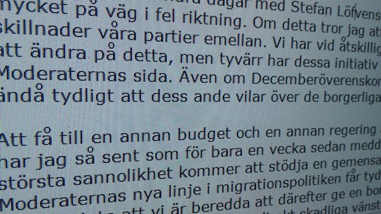 Brevet från Jimmie Åkesson. Foto: Tomas Ek.