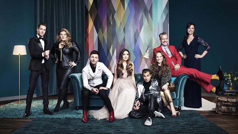 Bild på programledarna i Melodifestivalen 2016