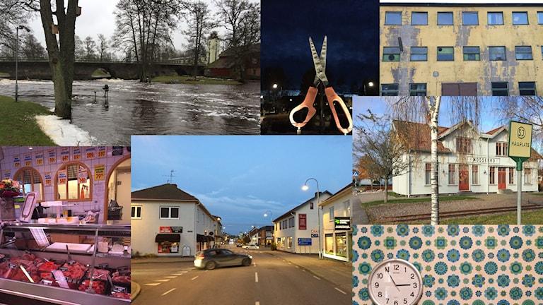 Flera bilder från Nossebro. Bland annat saxen, necks gamla fabriker, Nossan och Eriksons chark.