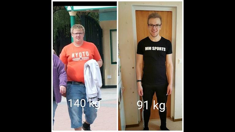 Emil Ljungberg från Skövde har gått ner nästan 50 kg.