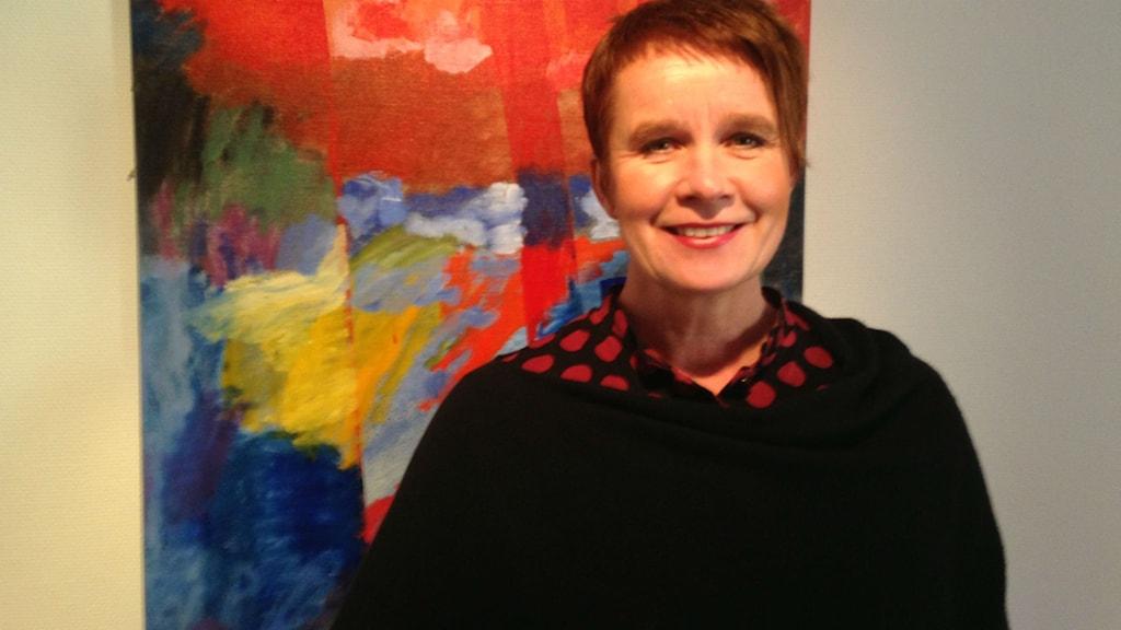 Catrin Hulmarker kommunalråd (M) i Hjo. Foto: Jenny Josefsson P4 Skaraborg Sveriges Radio
