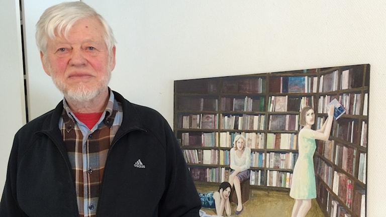 Göran Magnusson med målningen I biblioteket.