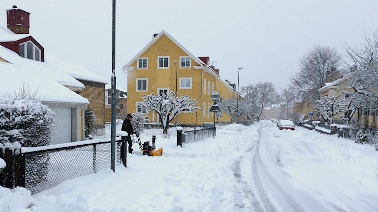 Snöigt på Norrmalm i Skövde