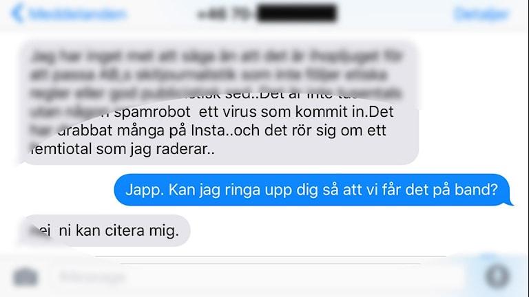 En skärmdump på Hedvalls sms.