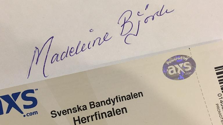 Biljett till Madeleine.