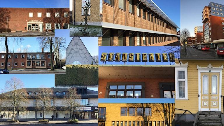 Montage av bilder från Falköping. Flera olika byggnader.