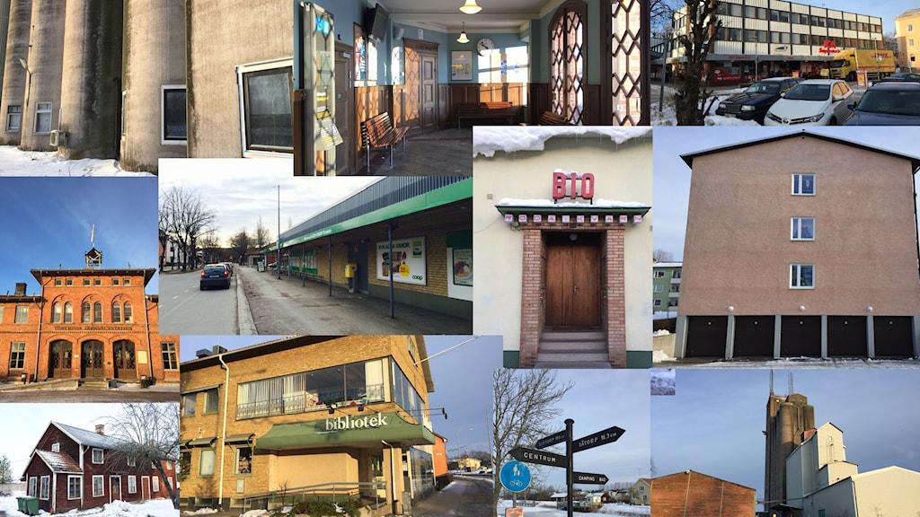 Ett collage med bilder från miljön i Töreboda.