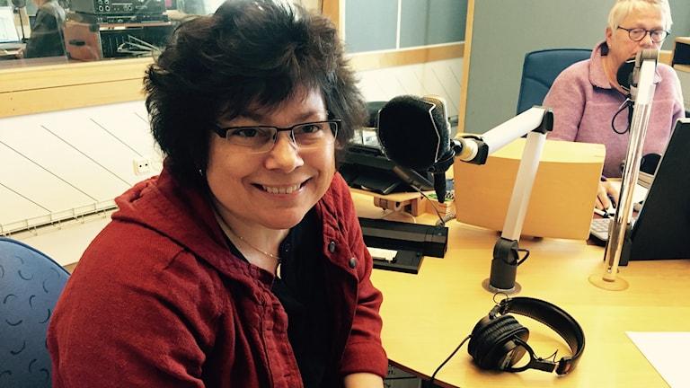 Kristina Appelqvist i radiostudion