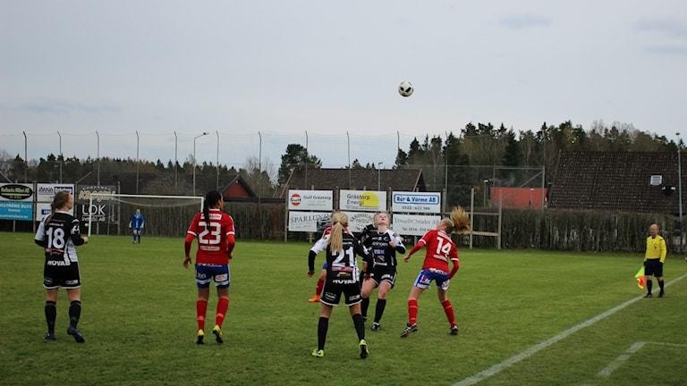 Kamp om bollen på Lunnevi. Foto Tommy Järlström P¤ Sveriges Radio.