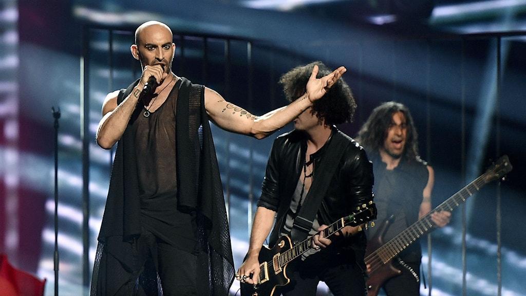 Cyperns bidrag i eurovisionsschlagerfestivalen på scen. Foto: Martin Meissner/TT