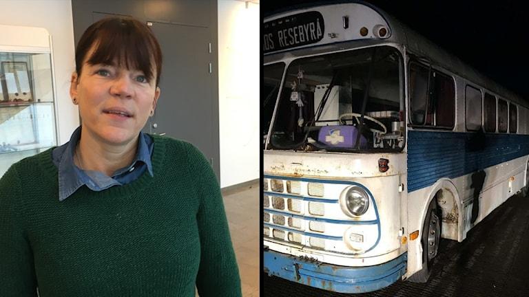 Sara-Lena Bjälkö och hennes dragracingbuss