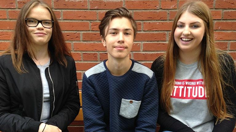 Lisa Andersson, Casper Beldt och Julia Wästerfors läser på Kavelbrogymnasiet och de sitter alla ned och tittar in i kameran.