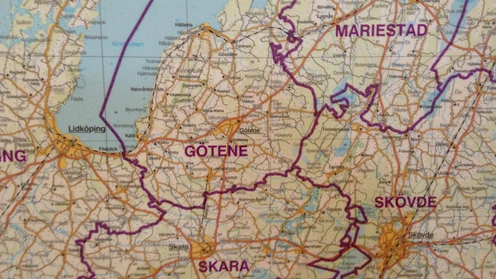 De centrala delarna av Skaraborg på en karta