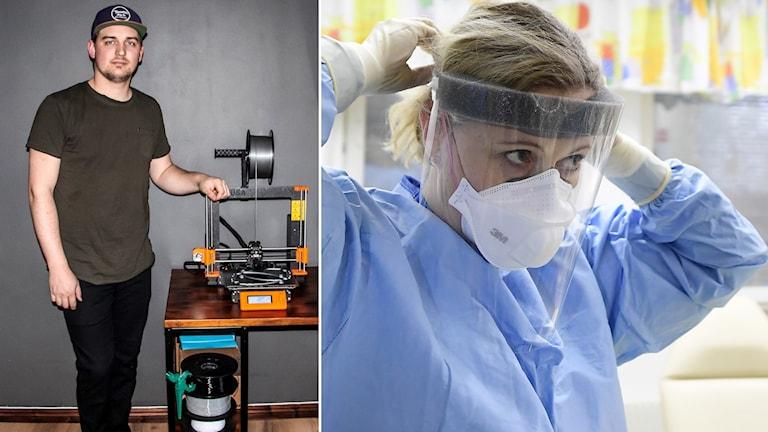 Anton Kristoffersson står vid en 3D-printer som används för att tillverka skyddsvisir.
