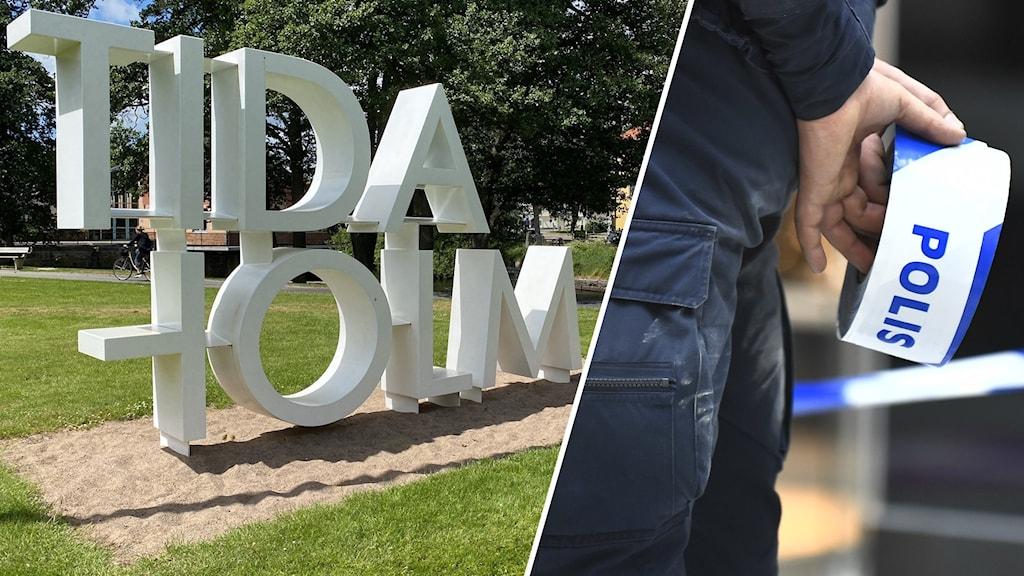 Tvådelad bild: Ett konstverk på en gräsplätt som det står Tidaholm på och en polis som står med avspärrningstejp i händerna bakom ryggen.