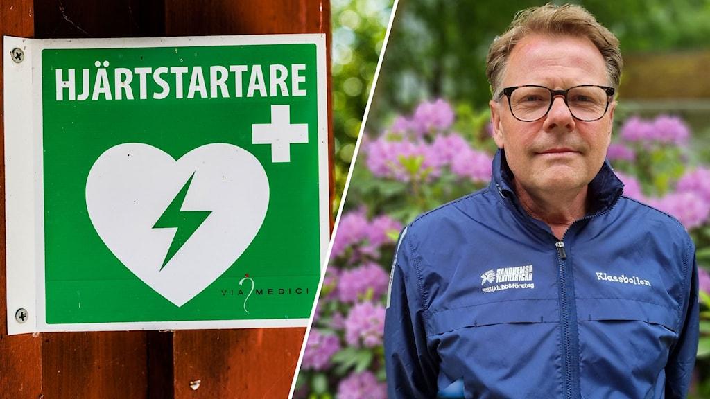 Montage med en skylt om hjärtstartare och Anders Johansson.