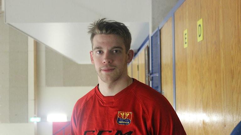 Niklas Lindmark, matchhjälte i Skövde IK. Foto Tommy Järlström P4 Sveriges Radio.
