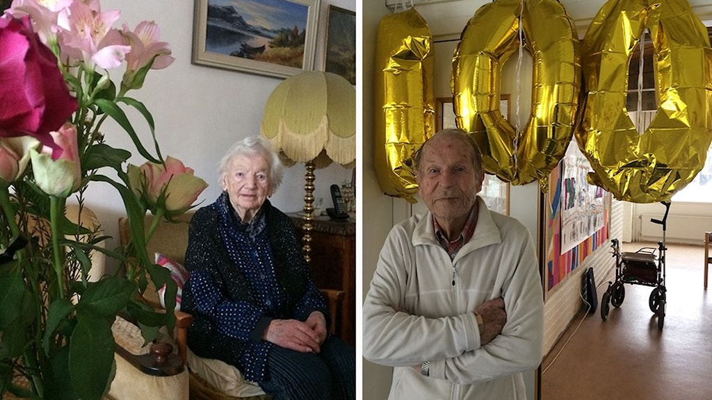 Ingrid Häll och Lennart Dalenfors i Hjo. Tillsammans är de 200 år gamla.