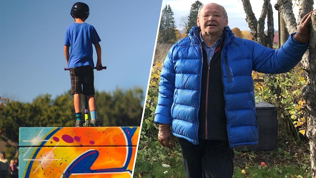 Tvådelad bild: En pojke tittar ner från toppen av en skejtboardramp och tittar ner och Håkan Andersson är fotograferad vid ett träd.
