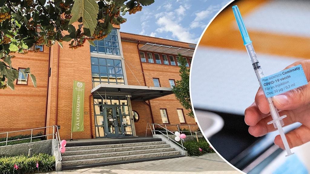 Montage med Högskolan i Skövde och en vaccinspruta.