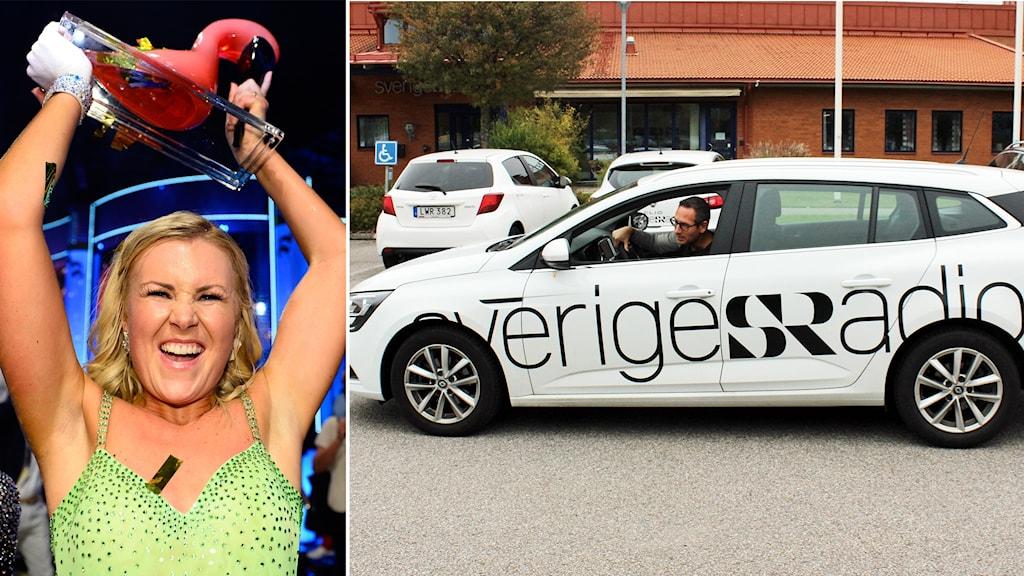 Ett kollage av två bilder. Den vänstra bilden föreställer Elisa Lindström när hon håller upp en pokal och den högra föreställer en vit bil som det står Sveriges Radio på.