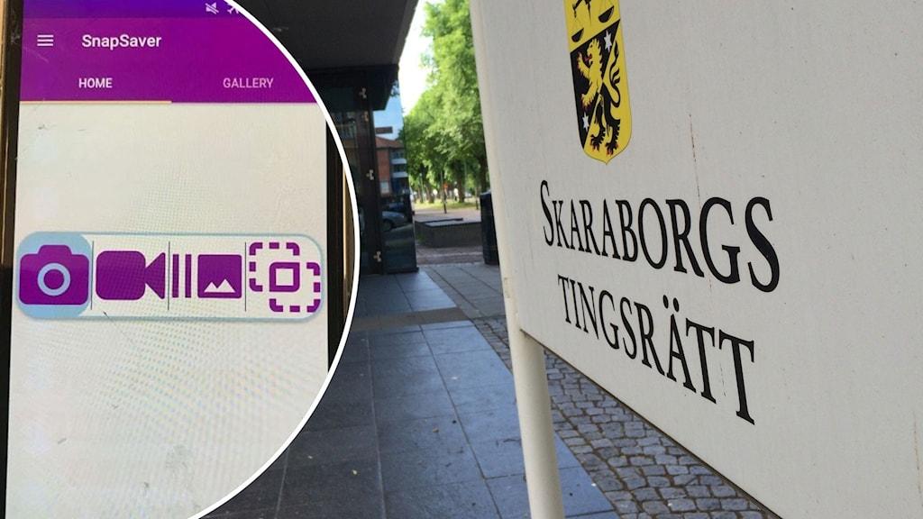 Montage med en mobiltelefon och skylt för Skaraborgs tingsrätt.