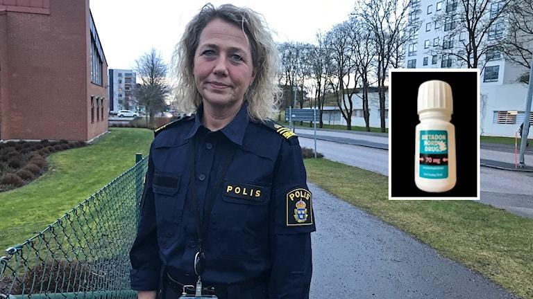 Marlene Andersson Wikman i polisuniform och en inklippt flaska Metadon