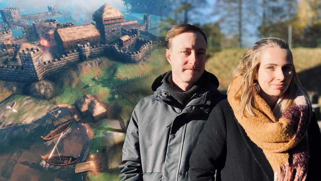 Ett porträtt på Henrik Thörnqvist och Lisa Kolfjord som står utomhus. De båda har händerna i sina jackfickor och ler mot kameran. Inklippt i bilden är en skärmbild från spelet Valheim där man ser en vik med båtar och en stor borg på land.