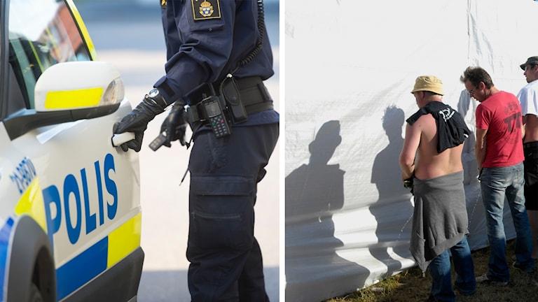 Polisbil och kissande män