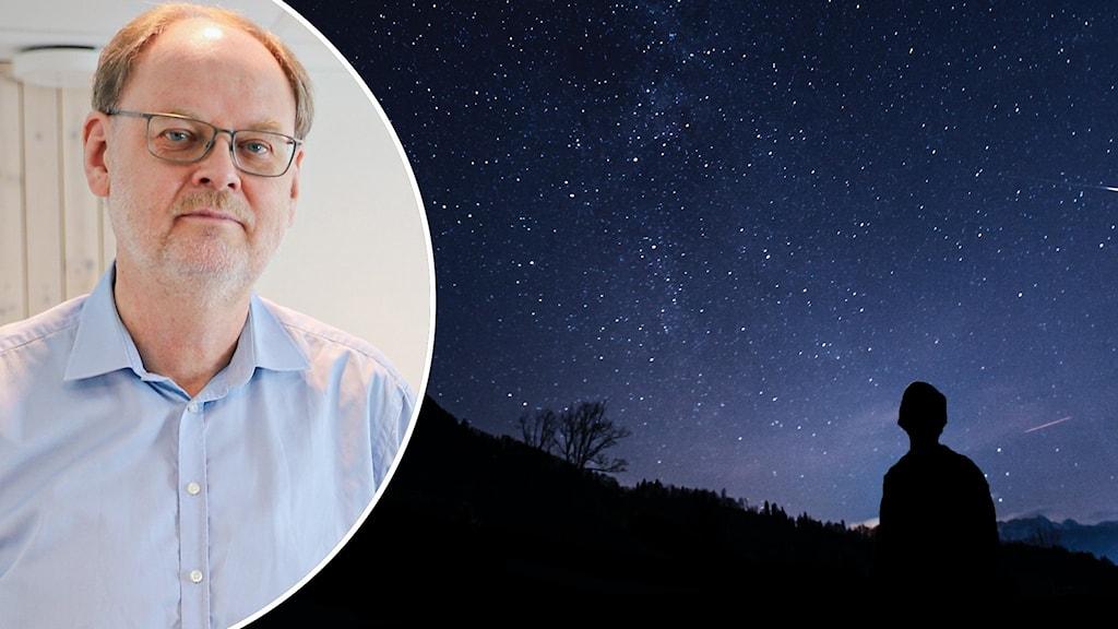 Ett bildkollage med ett porträtt på Clas Svahn och en stjärnhimmel.