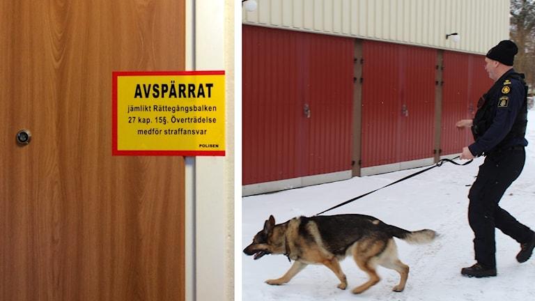 Kollage lägenhetsdörr och polishund