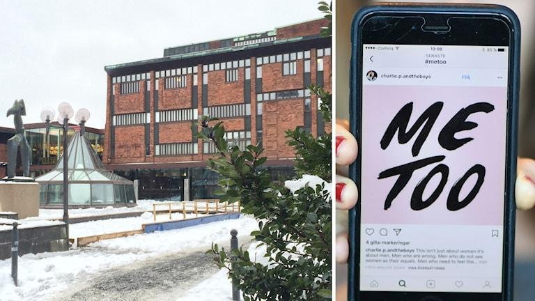 Kulturhuset i Skövde och en mobiltelefon med texten Me Too