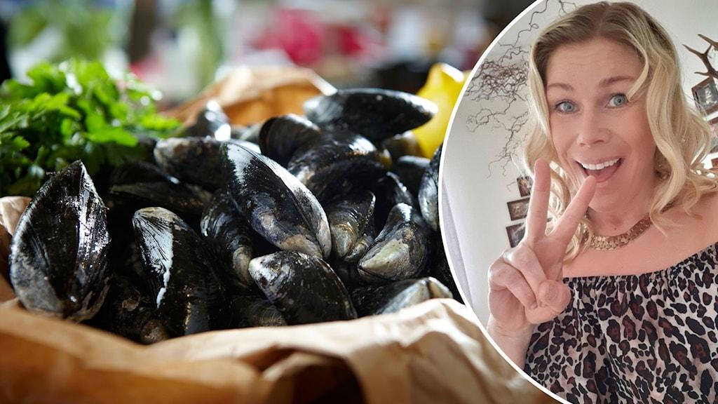 Montage med en skpl med musslor och en kvinna som gör segertecken.