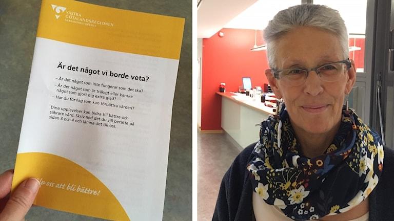 En broschyr från Skaraborgs sjukhus med rubriken Är det något vi borde veta? och en porträttbild av Marga Brisman, chefläkare
