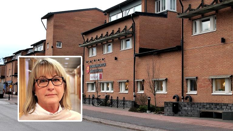 Kristina Lundgren, kommunchef Tibro och kommunhuset i Tibro