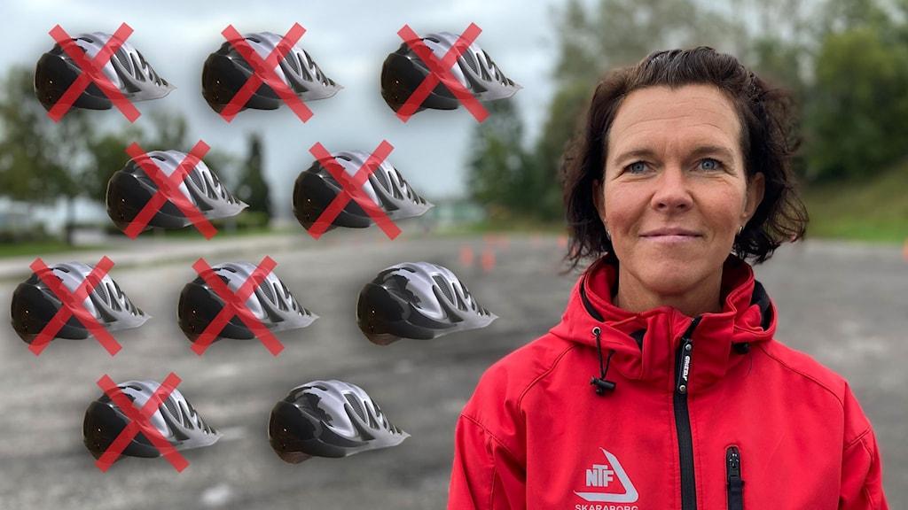 En kvinna och tio cykelhjälmar.